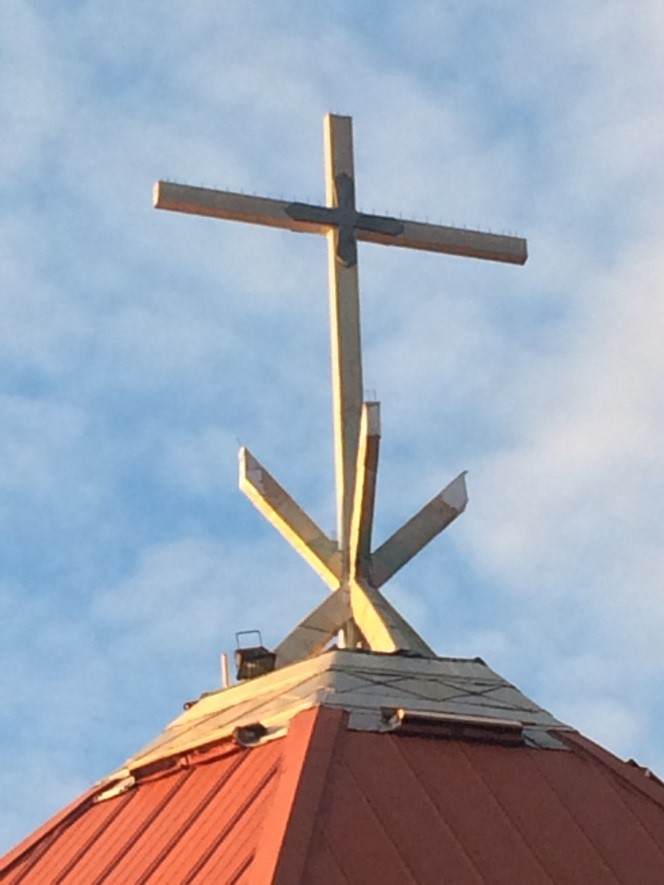 Cross on the top of St Theresa Of the Child Jesus Church, Deline.