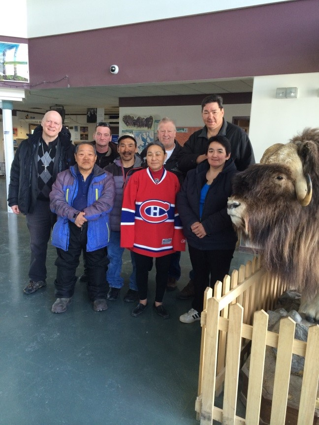 Group of Cambridge Bay community members who are responsible for carrying out the restoration work on the Church.