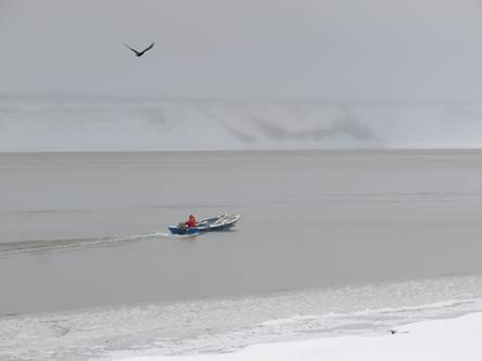 A local fisherman takes one last trip up the Mackenzie prior to freeze up